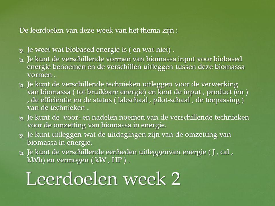 De leerdoelen van deze week van het thema zijn :  Je weet wat biobased energie is ( en wat niet).