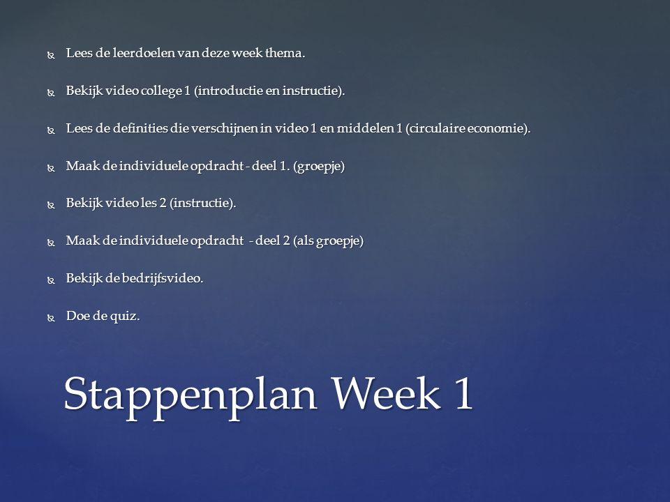  Lees de leerdoelen van deze week thema.  Bekijk video college 1 (introductie en instructie).