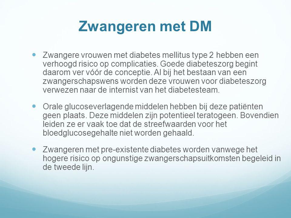 Zwangeren met DM Zwangere vrouwen met diabetes mellitus type 2 hebben een verhoogd risico op complicaties.