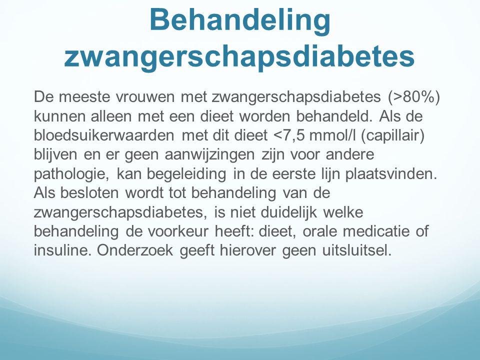 Behandeling zwangerschapsdiabetes De meeste vrouwen met zwangerschapsdiabetes (>80%) kunnen alleen met een dieet worden behandeld.
