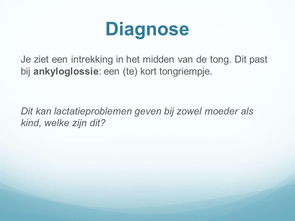 Diagnose Je ziet een intrekking in het midden van de tong.