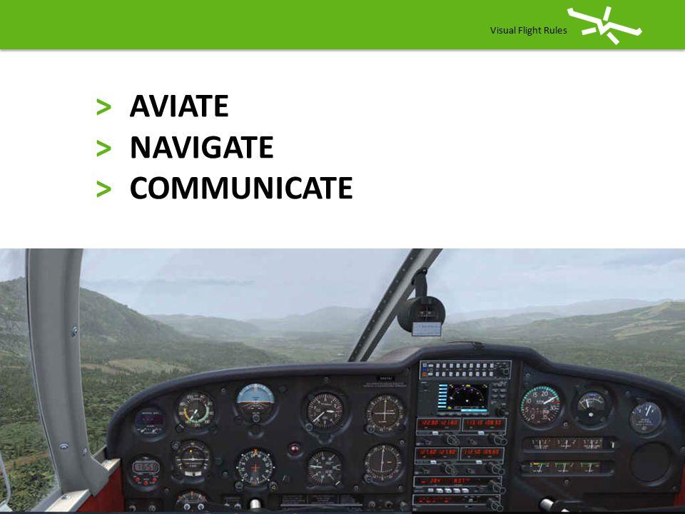 >AVIATE >NAVIGATE >COMMUNICATE Visual Flight Rules