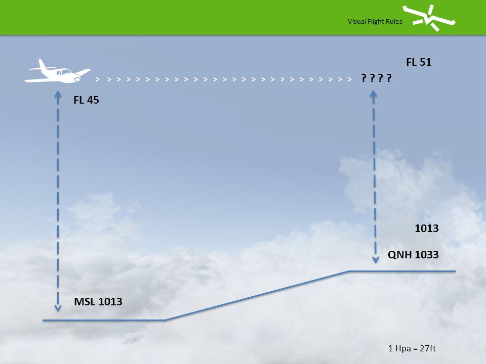 Visual Flight Rules > > > > > > > > > > > > > > > > > > > > > > > > > > > 4500 ft 1 Hpa = 27ft FL 45 MSL 1013 QNH 1013