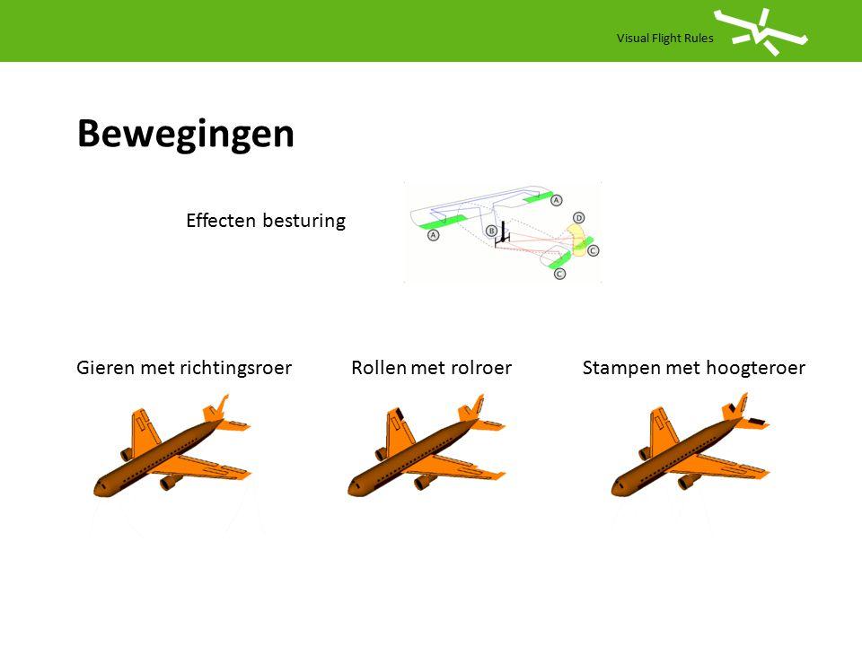 Visual Flight Rules Bewegingen Gieren met richtingsroerRollen met rolroerStampen met hoogteroer Effecten besturing