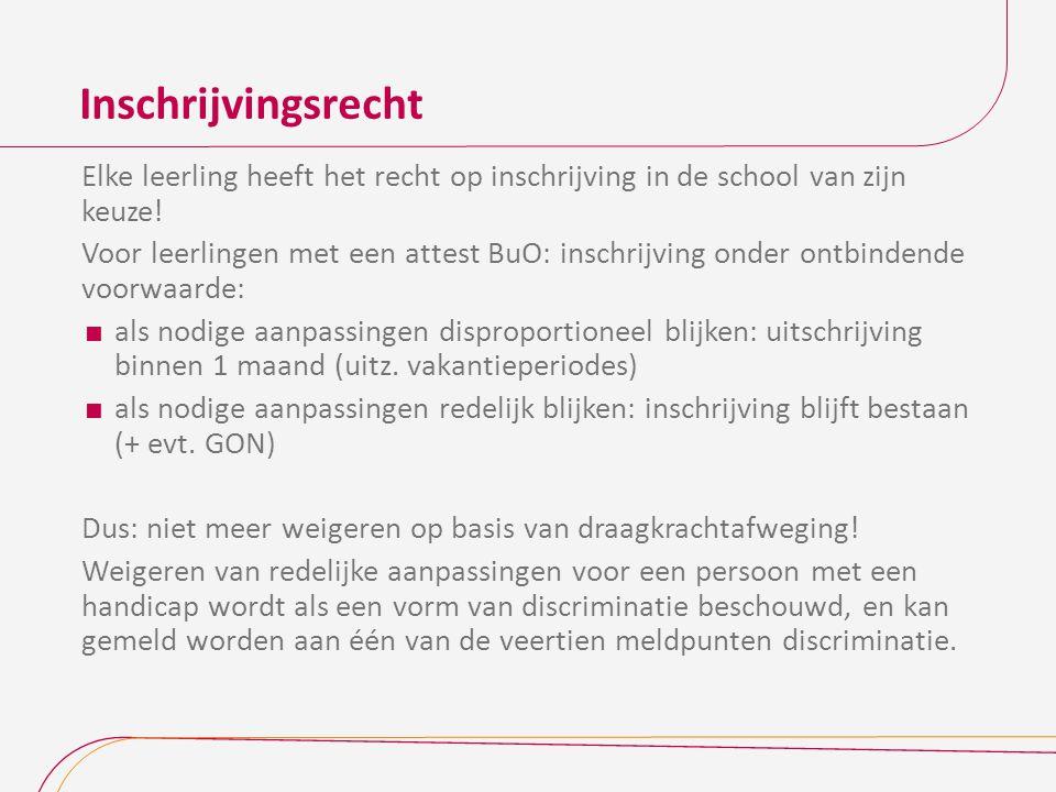 Inschrijvingsrecht Elke leerling heeft het recht op inschrijving in de school van zijn keuze.