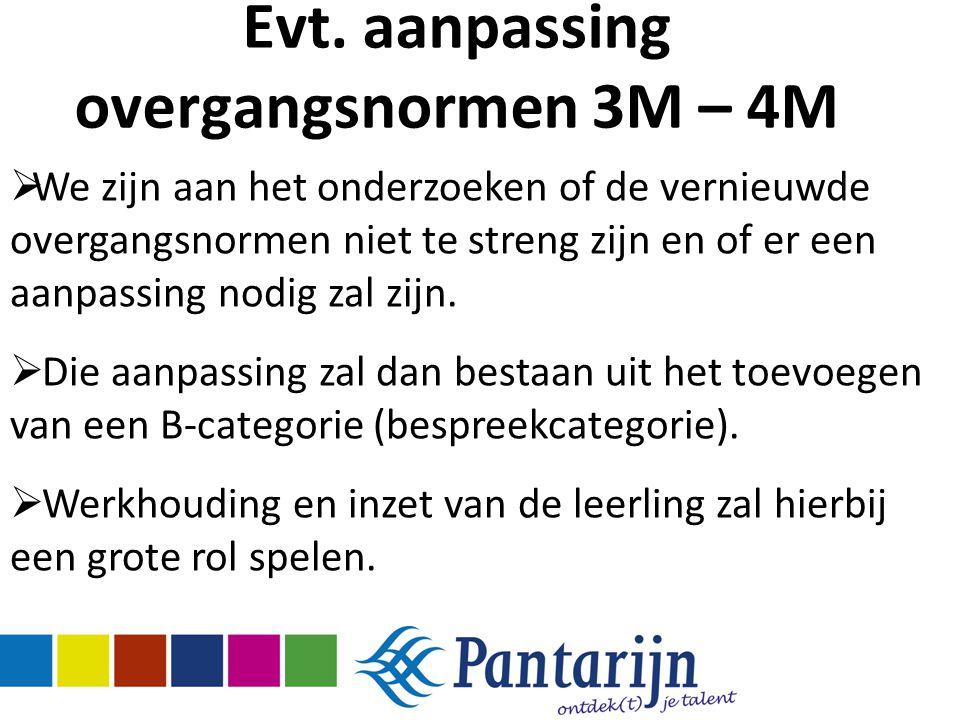 Evt. aanpassing overgangsnormen 3M – 4M  We zijn aan het onderzoeken of de vernieuwde overgangsnormen niet te streng zijn en of er een aanpassing nod