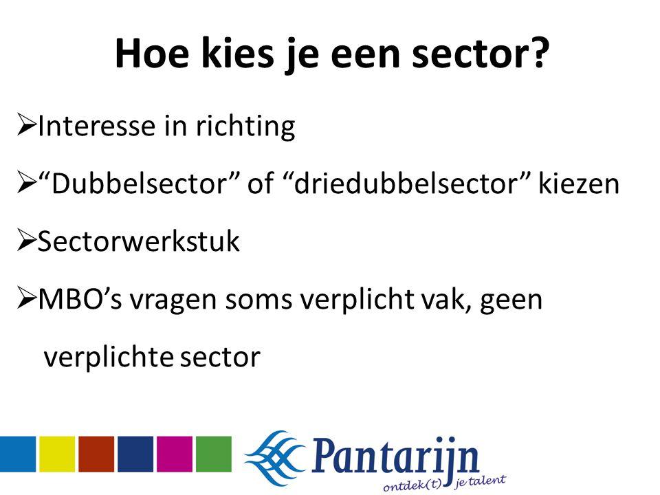 """Hoe kies je een sector?  Interesse in richting  """"Dubbelsector"""" of """"driedubbelsector"""" kiezen  Sectorwerkstuk  MBO's vragen soms verplicht vak, geen"""