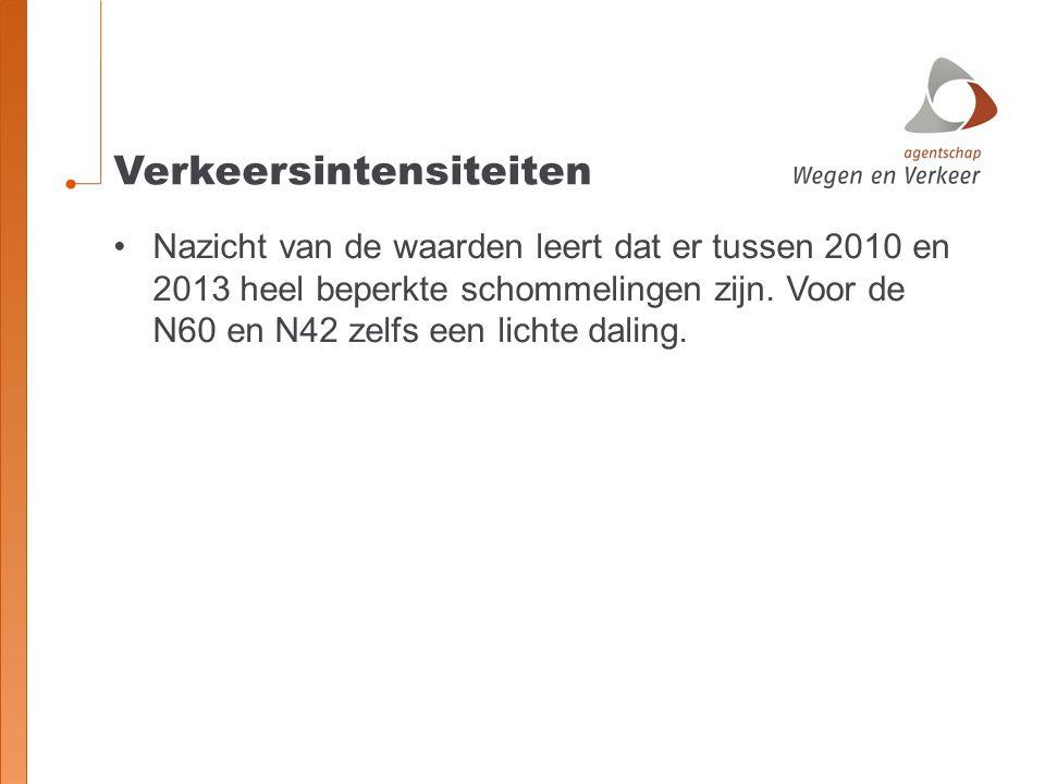 Verkeersintensiteiten Nazicht van de waarden leert dat er tussen 2010 en 2013 heel beperkte schommelingen zijn.