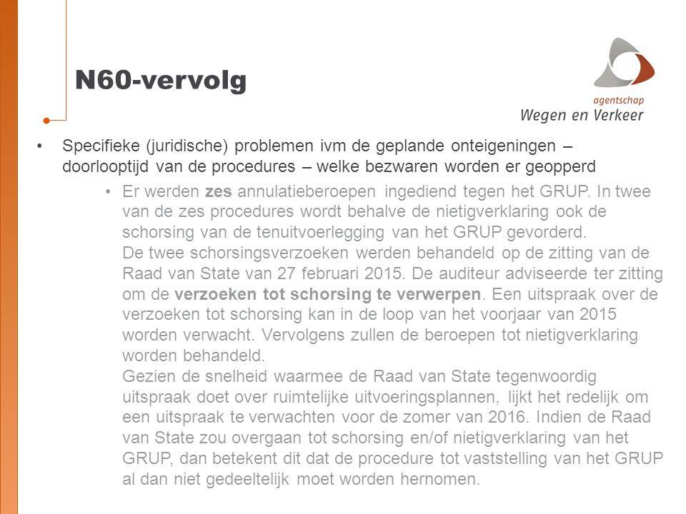 N60-vervolg Specifieke (juridische) problemen ivm de geplande onteigeningen – doorlooptijd van de procedures – welke bezwaren worden er geopperd Er werden zes annulatieberoepen ingediend tegen het GRUP.