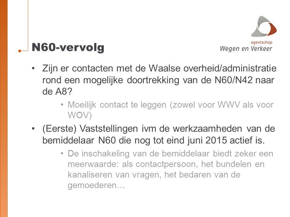 N60-vervolg Zijn er contacten met de Waalse overheid/administratie rond een mogelijke doortrekking van de N60/N42 naar de A8.