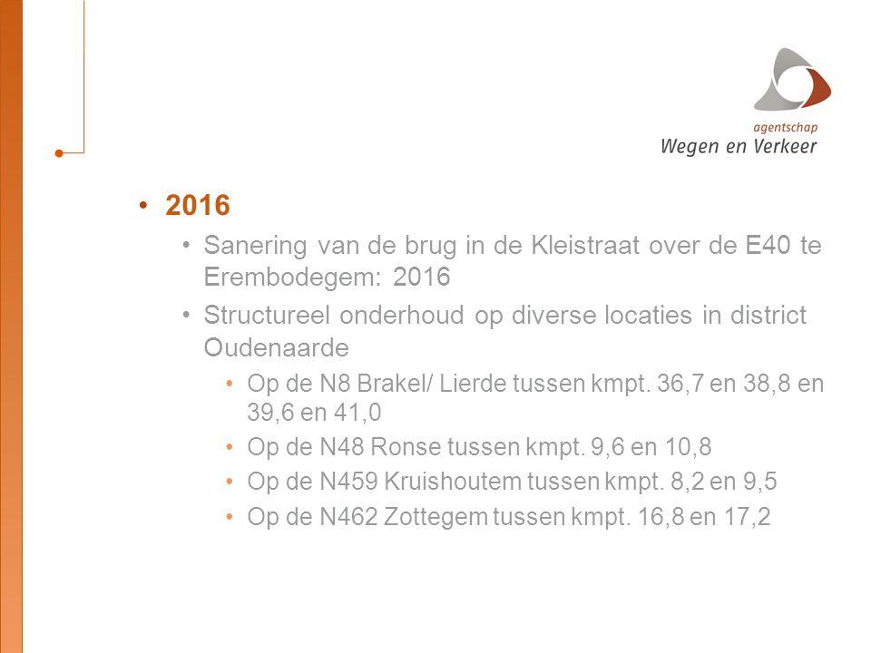 2016 Sanering van de brug in de Kleistraat over de E40 te Erembodegem: 2016 Structureel onderhoud op diverse locaties in district Oudenaarde Op de N8 Brakel/ Lierde tussen kmpt.