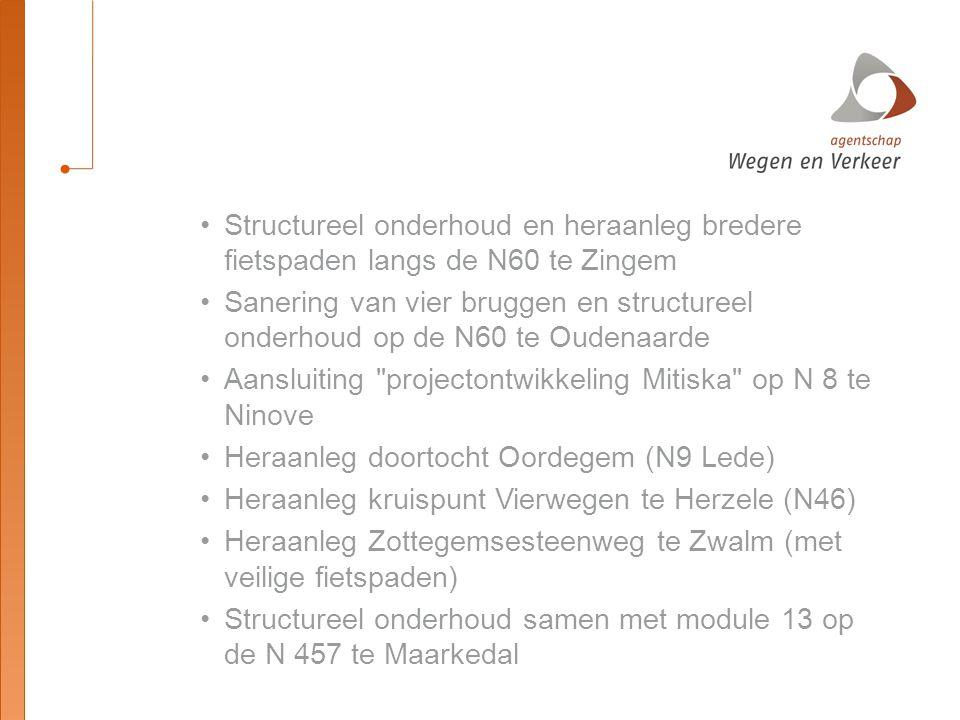 2017 Structureel onderhoud op de E 40 tussen Vlekkem en Merelbeke Bouw fietsersbrug over N 60 te Oudenaarde (vlakbij Schorisseweg) Heraanleg doortocht Baardegem op N 411 Aanleg van fietspaden langs de N 435 te Zingem, module 13 (bouwheer Zingem) Tenslotte is er uiteraard het PPS project doortrekking N 60 te Ronse