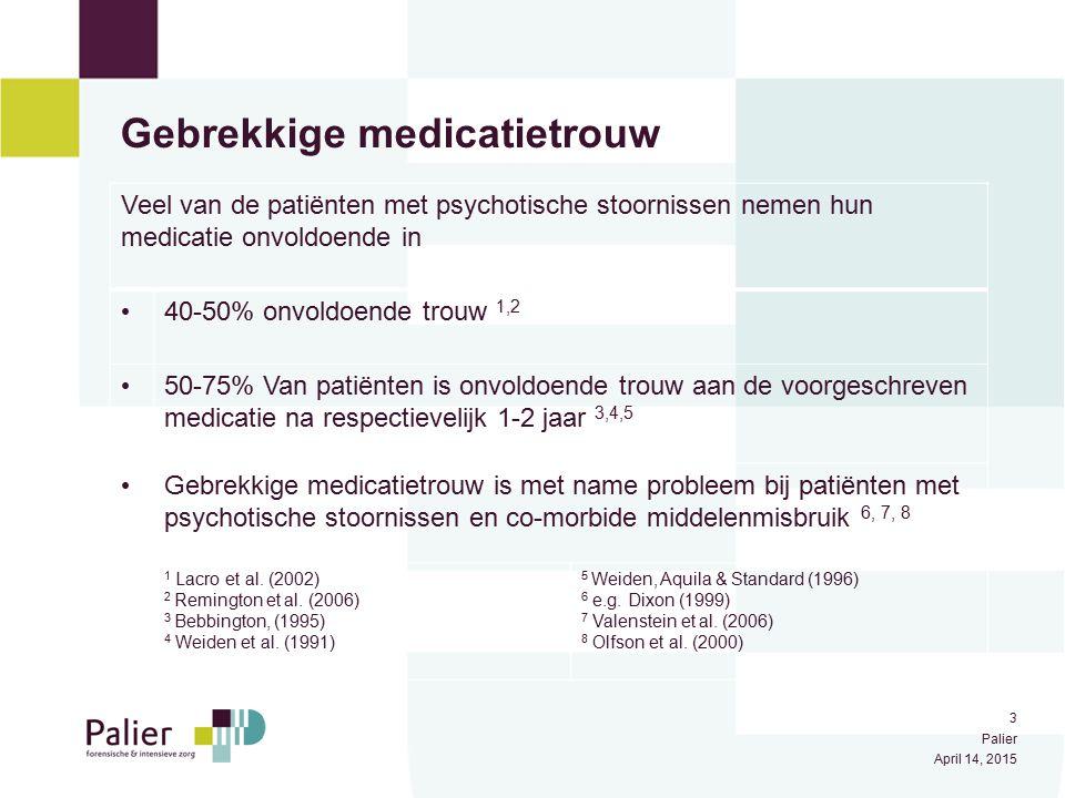 4 Palier April 14, 2015 Gevolgen gebrekkige medicatietrouw Adapted from P. J. Weiden et al. (2004)