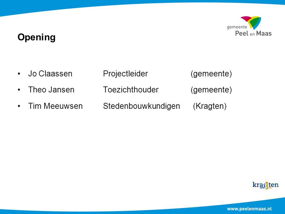 Opening Jo ClaassenProjectleider (gemeente) Theo JansenToezichthouder (gemeente) Tim MeeuwsenStedenbouwkundigen (Kragten)