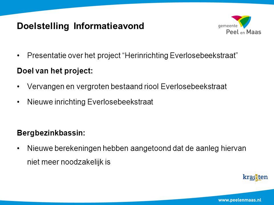 """Doelstelling Informatieavond Presentatie over het project """"Herinrichting Everlosebeekstraat"""" Doel van het project: Vervangen en vergroten bestaand rio"""