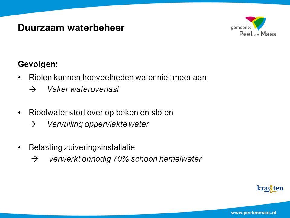 Duurzaam waterbeheer Gevolgen: Riolen kunnen hoeveelheden water niet meer aan  Vaker wateroverlast Rioolwater stort over op beken en sloten  Vervuil