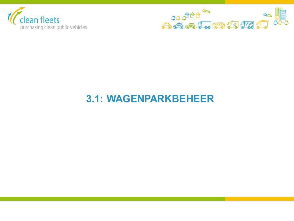 WAGENPARKBEHEER Iedere afzonderlijke wagenparkbeheerder zal een andere mate van controle hebben over het wagenpark De organisatie beschrijft het voertuig en de wagenparkbeheerder koopt in en onderhoudt De wagenparkbeheerder begrijpt elke interactie die medewerkers maken en legt aan de organisatie uit welk hulpmiddel ze daarbij gebruiken