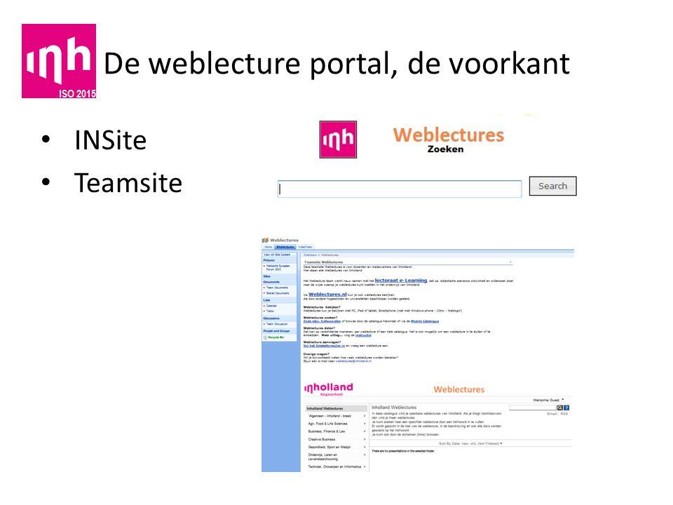 De weblecture portal, de voorkant INSite Teamsite