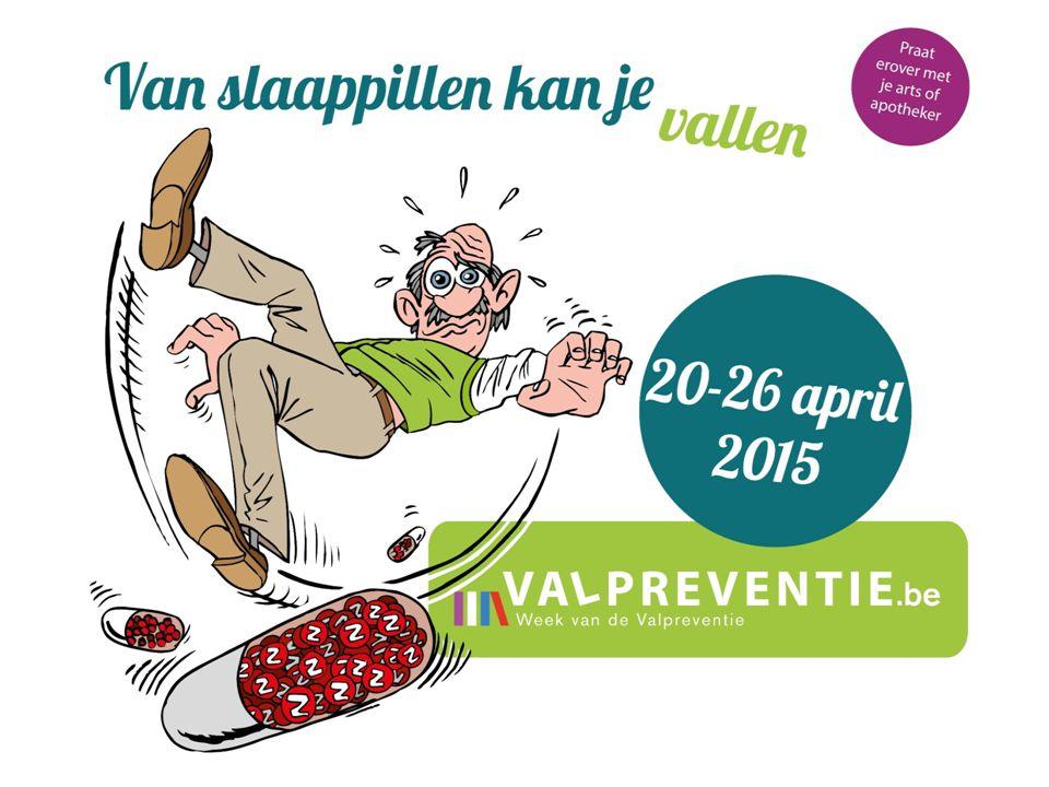 2015: 4 de editie Week van de Valpreventie (WvdV) Laatste week van april (jaarlijks) Doel: 65- plussers, hun familie en alle gezondheidszorg- en welzijnswerkers in Vlaanderen sensibiliseren en informeren over val- en fractuurpreventie Samenwerking tussen het Expertisecentrum Val- en fractuurpreventie Vlaanderen (EVV), het Vlaams Instituut voor Gezondheidspromotie en Ziektepreventie (VIGeZ) en het Lokaal Gezondheidsoverleg (LOGO), met ondersteuning van het Vlaams Agentschap Zorg en Gezondheid.VIGeZLOGOVlaams Agentschap Zorg en Gezondheid Week van de Valpreventie