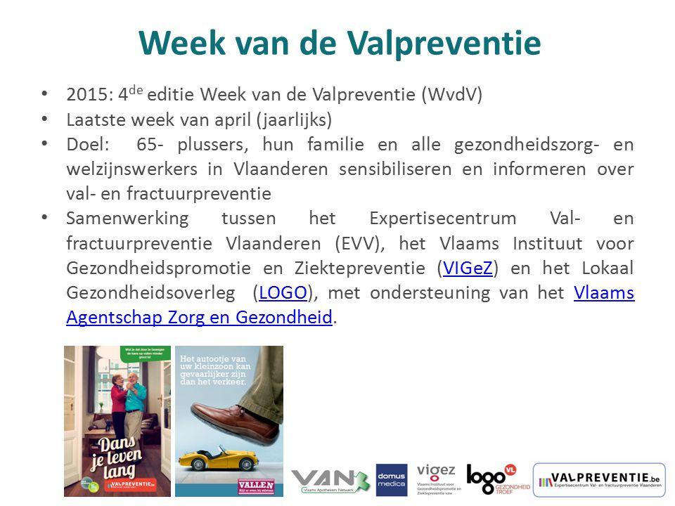2015: 4 de editie Week van de Valpreventie (WvdV) Laatste week van april (jaarlijks) Doel: 65- plussers, hun familie en alle gezondheidszorg- en welzi