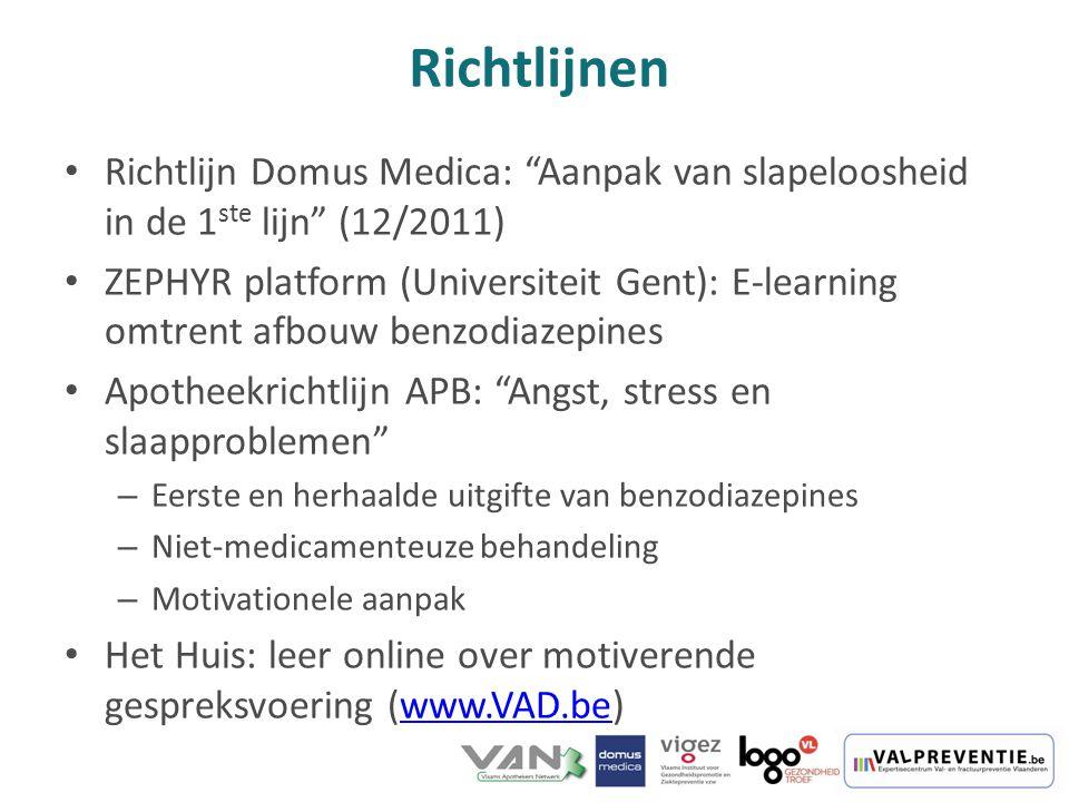 """Richtlijn Domus Medica: """"Aanpak van slapeloosheid in de 1 ste lijn"""" (12/2011) ZEPHYR platform (Universiteit Gent): E-learning omtrent afbouw benzodiaz"""