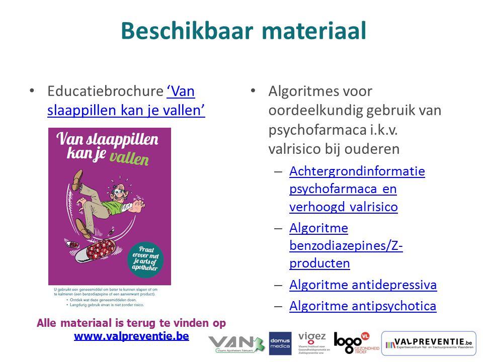 Educatiebrochure 'Van slaappillen kan je vallen''Van slaappillen kan je vallen' Algoritmes voor oordeelkundig gebruik van psychofarmaca i.k.v. valrisi