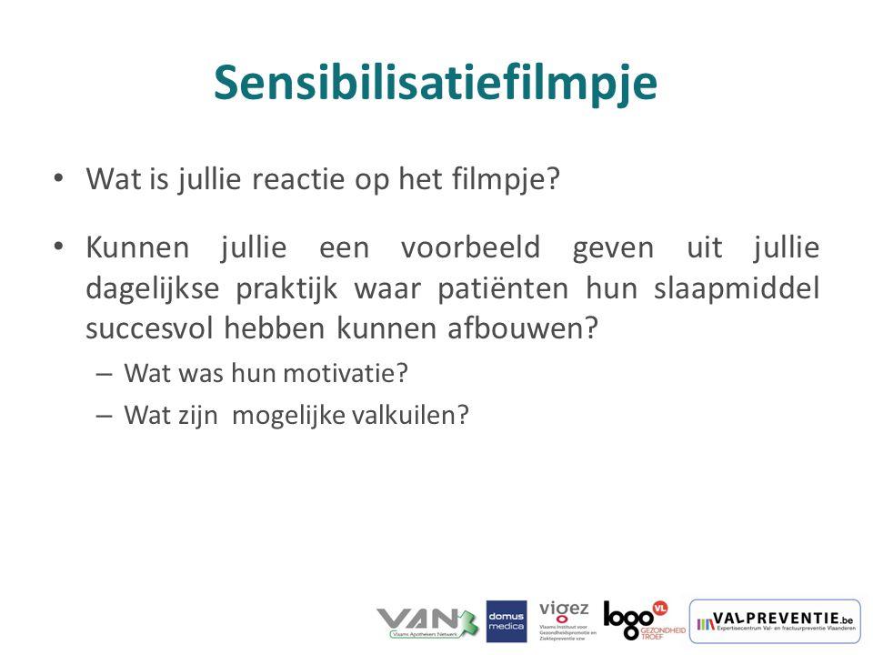 Sensibilisatiefilmpje Wat is jullie reactie op het filmpje? Kunnen jullie een voorbeeld geven uit jullie dagelijkse praktijk waar patiënten hun slaapm