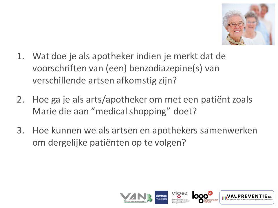 1.Wat doe je als apotheker indien je merkt dat de voorschriften van (een) benzodiazepine(s) van verschillende artsen afkomstig zijn? 2.Hoe ga je als a