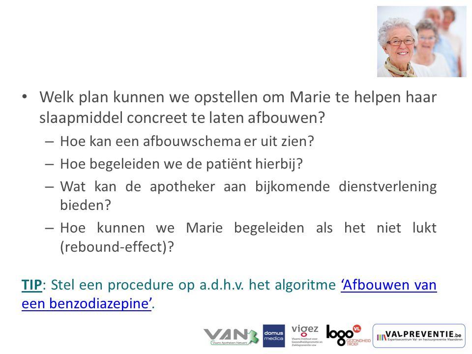 Welk plan kunnen we opstellen om Marie te helpen haar slaapmiddel concreet te laten afbouwen? – Hoe kan een afbouwschema er uit zien? – Hoe begeleiden