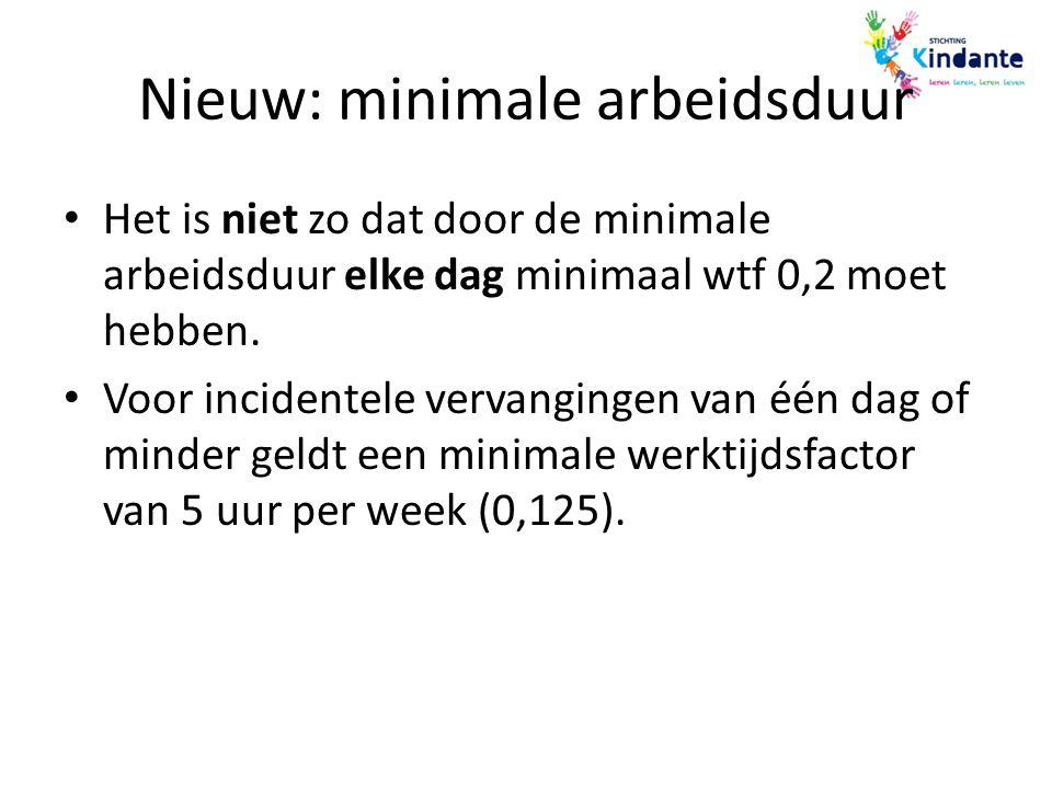 Nieuw: minimale arbeidsduur Het is niet zo dat door de minimale arbeidsduur elke dag minimaal wtf 0,2 moet hebben. Voor incidentele vervangingen van é