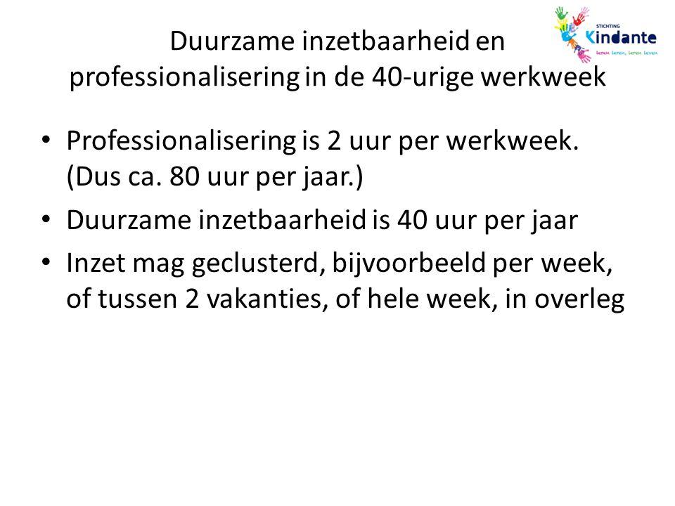 Duurzame inzetbaarheid en professionalisering in de 40-urige werkweek Professionalisering is 2 uur per werkweek. (Dus ca. 80 uur per jaar.) Duurzame i