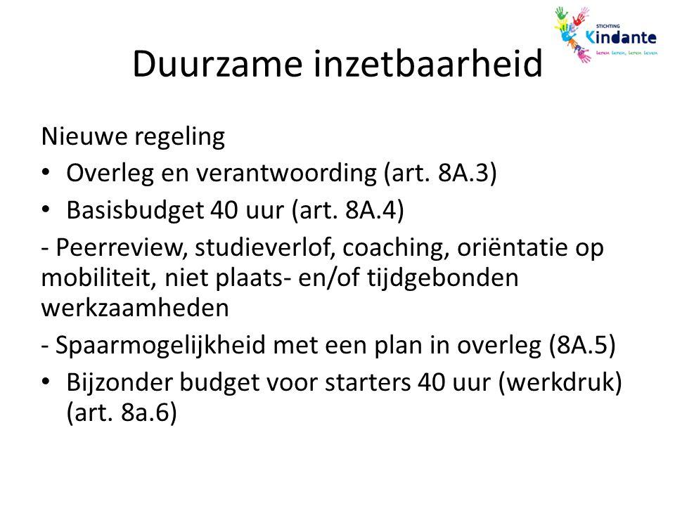 Duurzame inzetbaarheid Nieuwe regeling Overleg en verantwoording (art. 8A.3) Basisbudget 40 uur (art. 8A.4) - Peerreview, studieverlof, coaching, orië