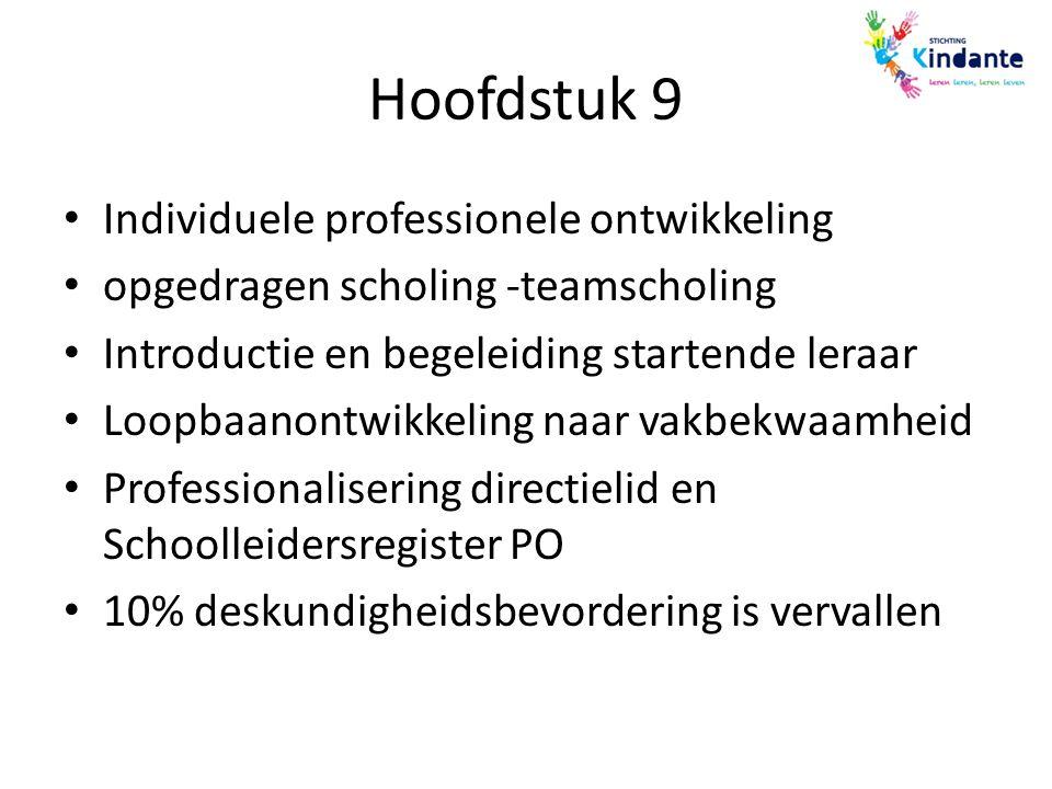 Hoofdstuk 9 Individuele professionele ontwikkeling opgedragen scholing -teamscholing Introductie en begeleiding startende leraar Loopbaanontwikkeling