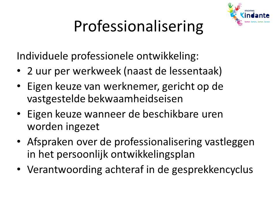 Professionalisering Individuele professionele ontwikkeling: 2 uur per werkweek (naast de lessentaak) Eigen keuze van werknemer, gericht op de vastgest