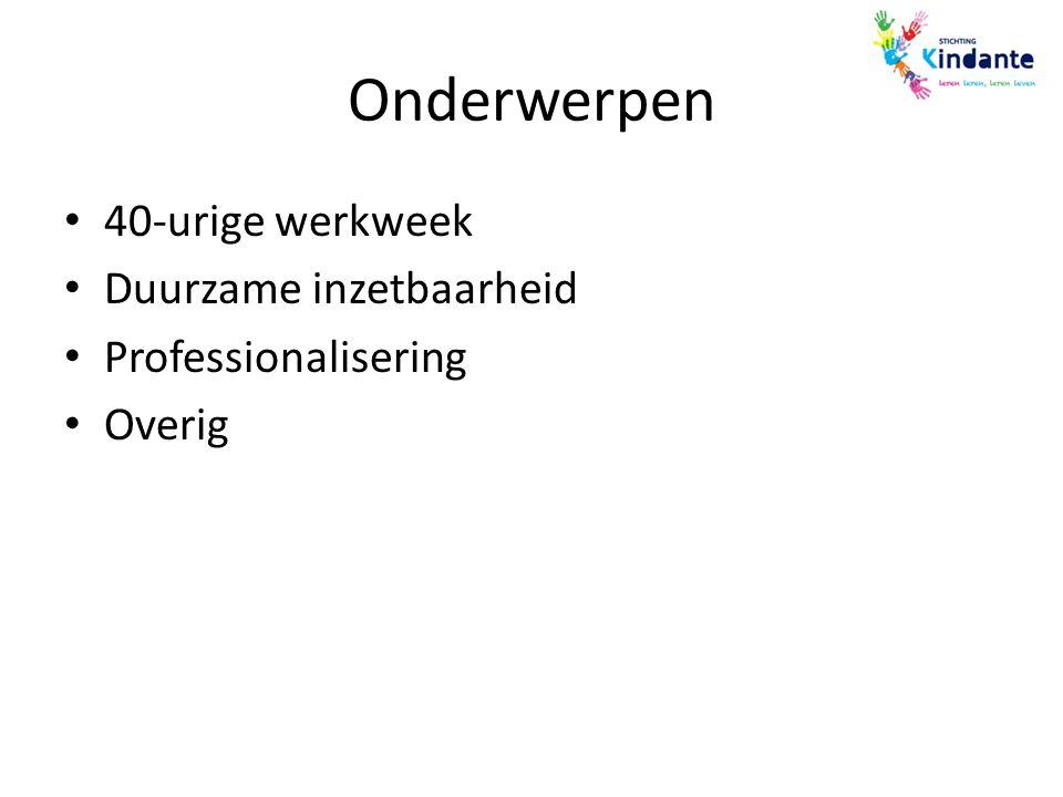 Onderwerpen 40-urige werkweek Duurzame inzetbaarheid Professionalisering Overig