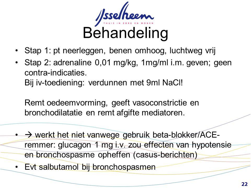 22 Behandeling Stap 1: pt neerleggen, benen omhoog, luchtweg vrij Stap 2: adrenaline 0,01 mg/kg, 1mg/ml i.m. geven; geen contra-indicaties. Bij iv-toe