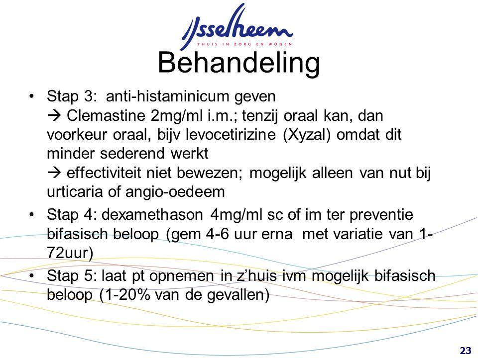 23 Behandeling Stap 3: anti-histaminicum geven  Clemastine 2mg/ml i.m.; tenzij oraal kan, dan voorkeur oraal, bijv levocetirizine (Xyzal) omdat dit m