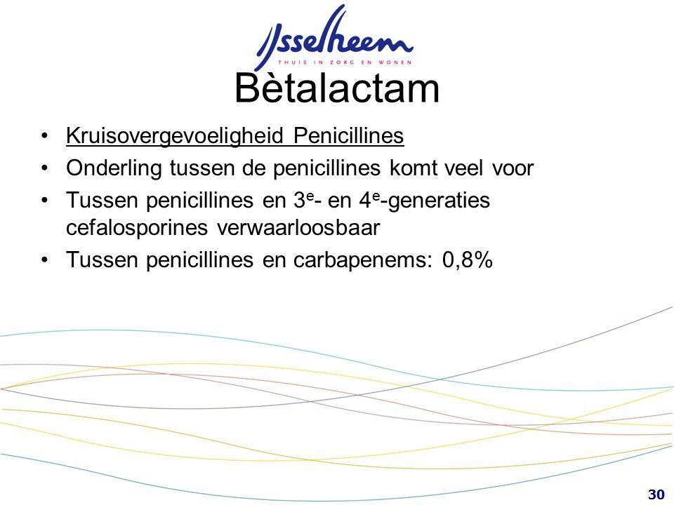 30 Bètalactam Kruisovergevoeligheid Penicillines Onderling tussen de penicillines komt veel voor Tussen penicillines en 3 e - en 4 e -generaties cefal