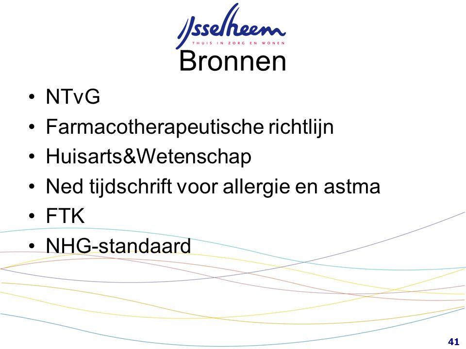 41 Bronnen NTvG Farmacotherapeutische richtlijn Huisarts&Wetenschap Ned tijdschrift voor allergie en astma FTK NHG-standaard