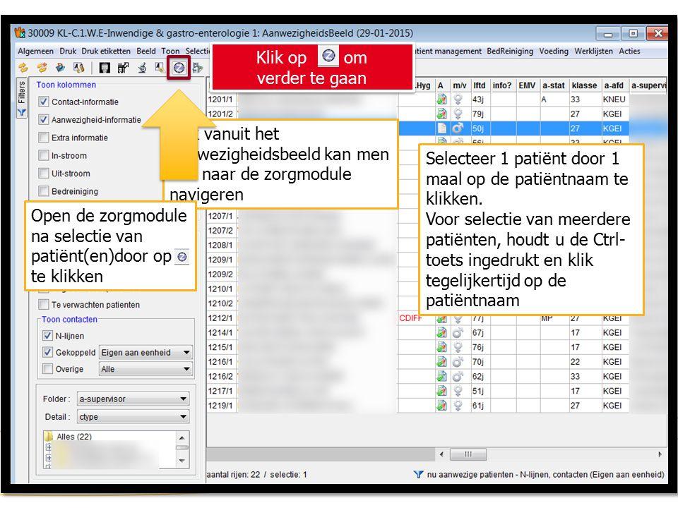 Zorgmodule (2) Ook vanuit het aanwezigheidsbeeld kan men vlot naar de zorgmodule navigeren Selecteer 1 patiënt door 1 maal op de patiëntnaam te klikken.