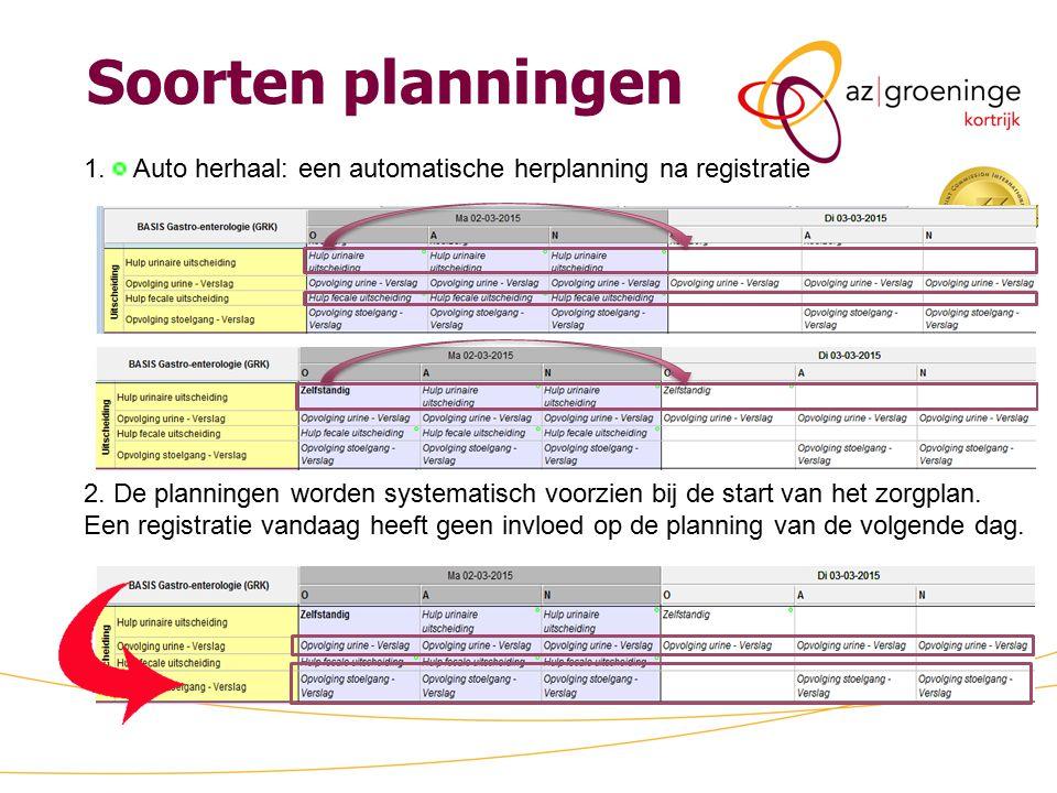 Soorten planningen 1.Auto herhaal: een automatische herplanning na registratie 2.