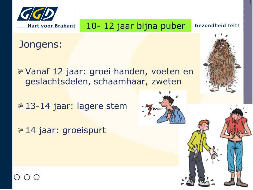 Jongens: Vanaf 12 jaar: groei handen, voeten en geslachtsdelen, schaamhaar, zweten 13-14 jaar: lagere stem 14 jaar: groeispurt