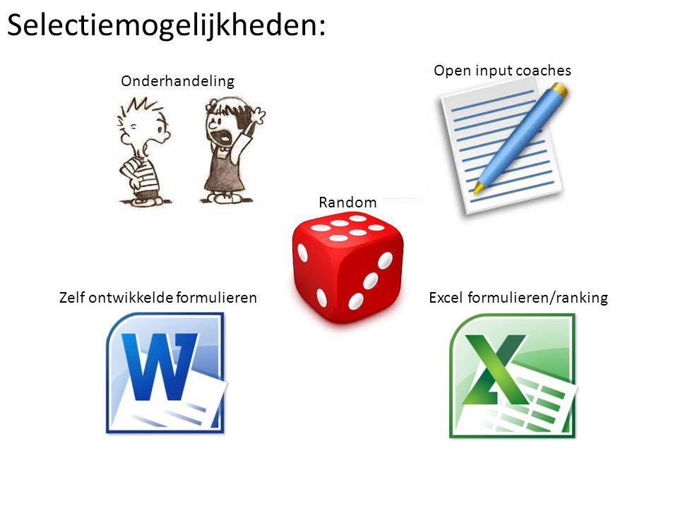 Selectiemogelijkheden: Onderhandeling Open input coaches Random Zelf ontwikkelde formulierenExcel formulieren/ranking