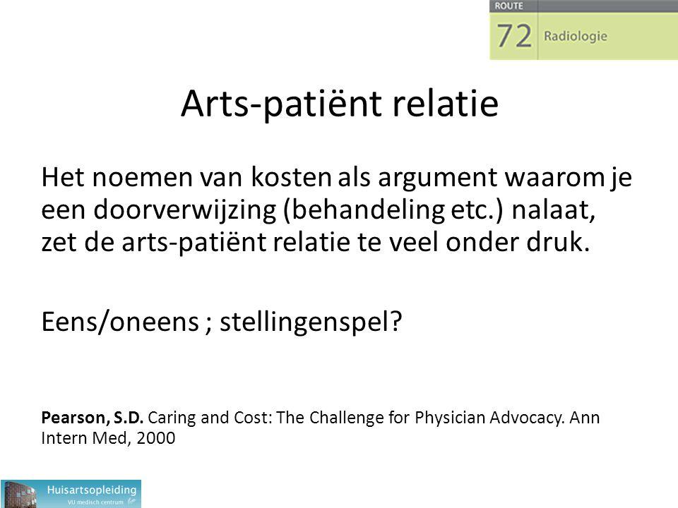 Arts-patiënt relatie Het noemen van kosten als argument waarom je een doorverwijzing (behandeling etc.) nalaat, zet de arts-patiënt relatie te veel onder druk.