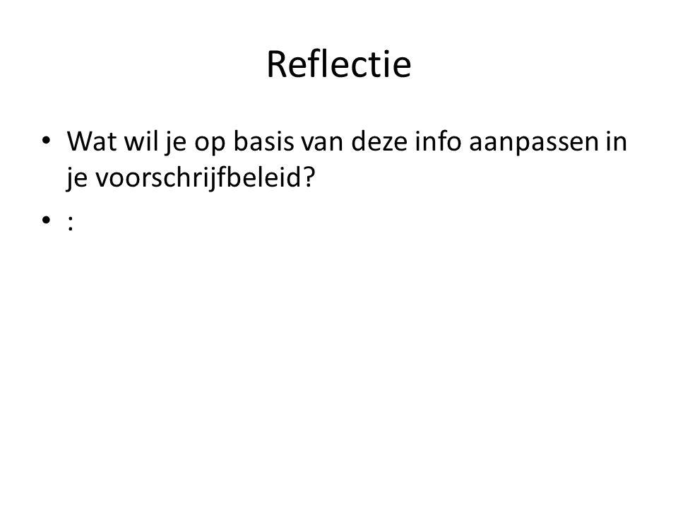 Reflectie Wat wil je op basis van deze info aanpassen in je voorschrijfbeleid? :
