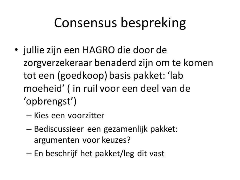 Consensus bespreking jullie zijn een HAGRO die door de zorgverzekeraar benaderd zijn om te komen tot een (goedkoop) basis pakket: 'lab moeheid' ( in r