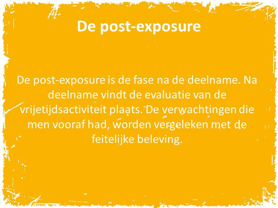 De post-exposure De post-exposure is de fase na de deelname. Na deelname vindt de evaluatie van de vrijetijdsactiviteit plaats. De verwachtingen die m