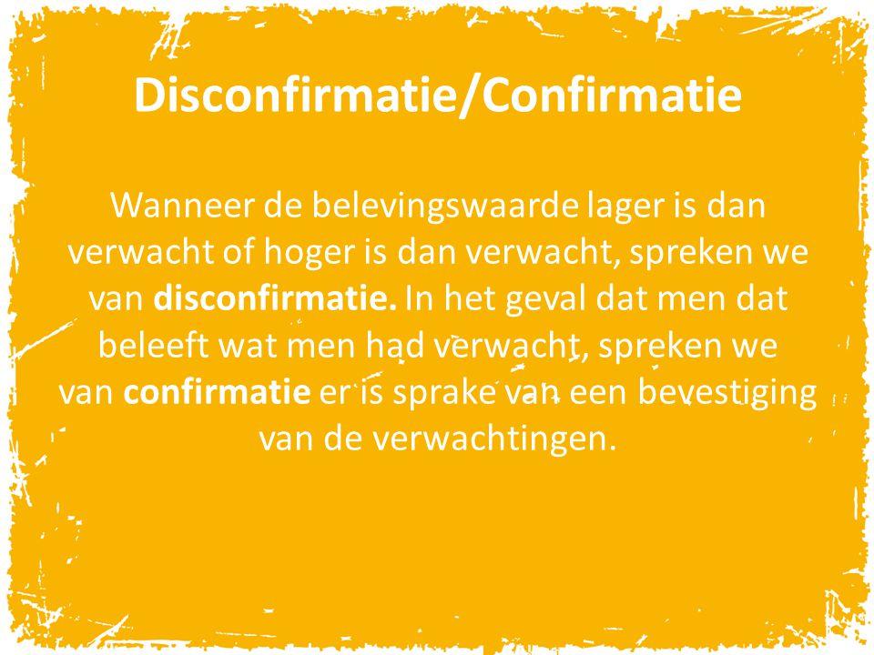 Disconfirmatie/Confirmatie Wanneer de belevingswaarde lager is dan verwacht of hoger is dan verwacht, spreken we van disconfirmatie. In het geval dat