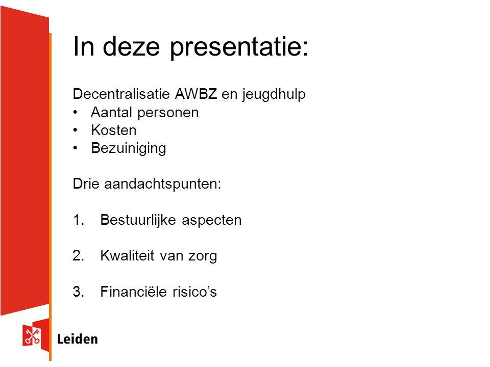 In deze presentatie: Decentralisatie AWBZ en jeugdhulp Aantal personen Kosten Bezuiniging Drie aandachtspunten: 1.Bestuurlijke aspecten 2.Kwaliteit van zorg 3.Financiële risico's