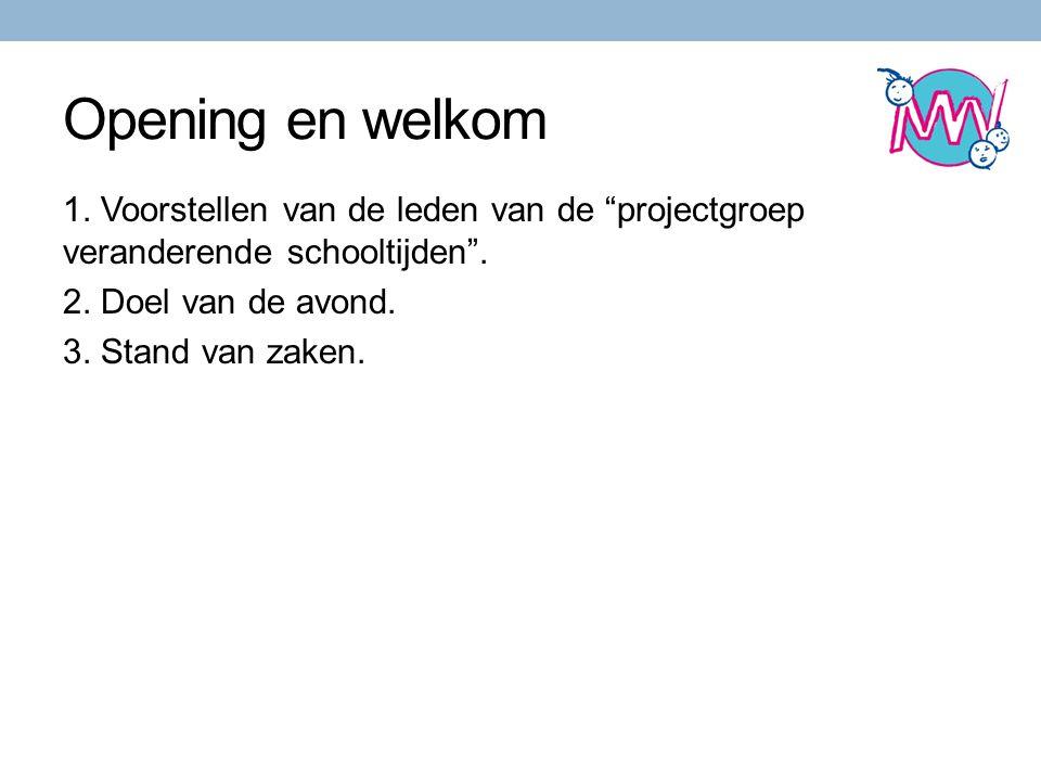 Opening en welkom 1.Voorstellen van de leden van de projectgroep veranderende schooltijden .